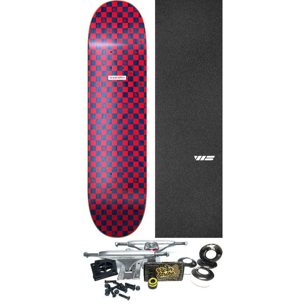 """The Heart Supply Checkers Red / Navy Skateboard Deck - 8"""" x 31.875"""" - Complete Skateboard Bundle"""