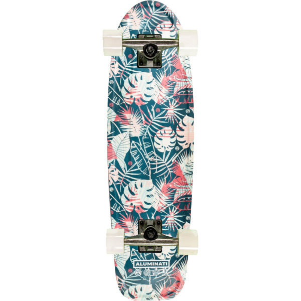 "Aluminati Skateboards Floral Leaves Jerry Cruiser Complete Skateboard - 8.12"" x 28"""