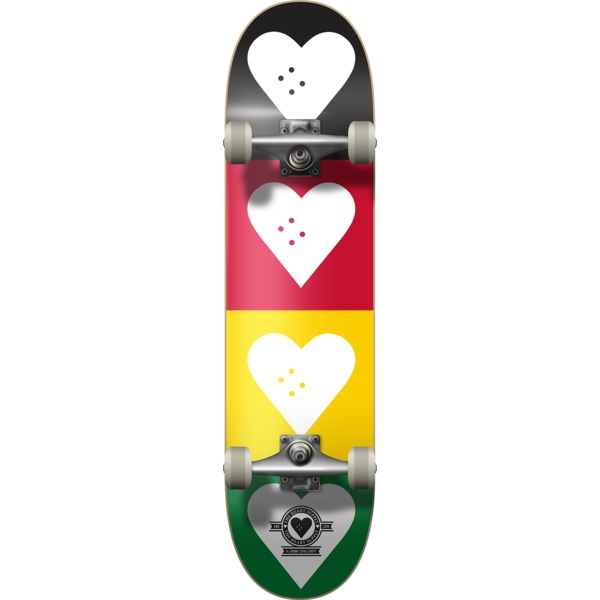 """The Heart Supply Quad Logo Red / Gold / Green Complete Skateboard - 8.25"""" x 32"""""""