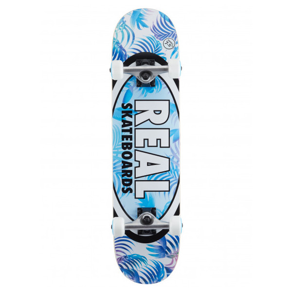 """Real Skateboards Oval Tropics White / Blue / Assorted Colors Mid Complete Skateboards - 7.5"""" x 31.25"""""""