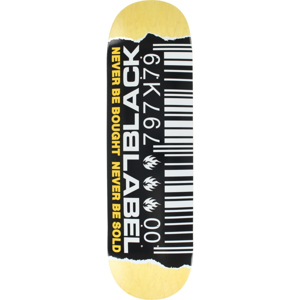 """Black Label Skateboards Barcode Ripped Assorted / Black / White / Yellow Skateboard Deck - 8.8"""" x 33.25"""""""