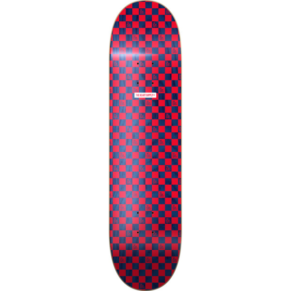 """The Heart Supply Checkers Red / Navy Skateboard Deck - 8"""" x 31.875"""""""