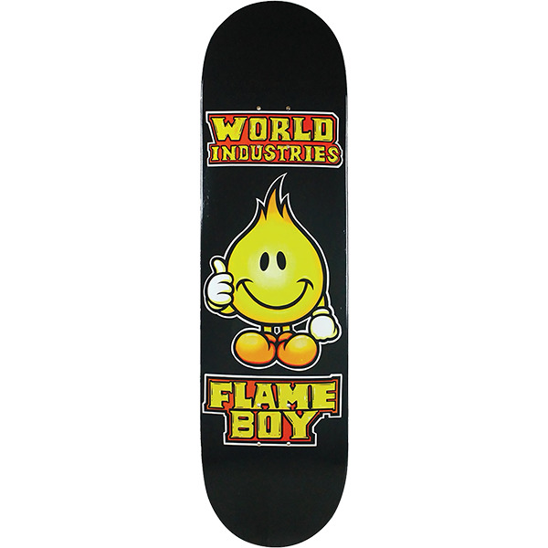 "World Industries Skateboards Solid Gold Flame Boy Skateboard Deck - 8.3"" x 32"""