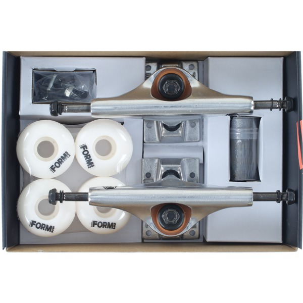 """Industrial Polished Trucks with 52mm White Wheels, Bearings & Hardware Kit - 5.5"""" Hanger 8.25"""" Axle (Set of 2)"""