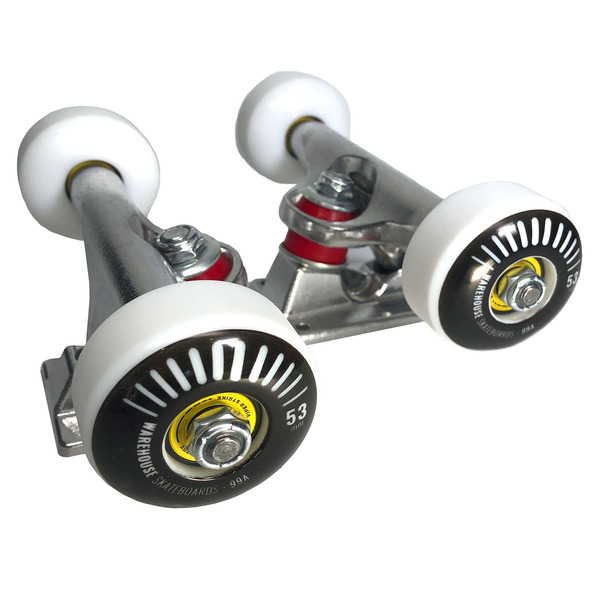 """Warehouse Polished Trucks with 53mm Black Street Vents Wheels & Bearings Combo - 5.25"""" Hanger 8.0"""" Axle (Set of 2)"""