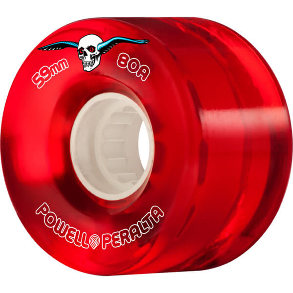 Powell Peralta Clear Cruiser Red Skateboard Wheels - 59mm 80a (Set of 4)