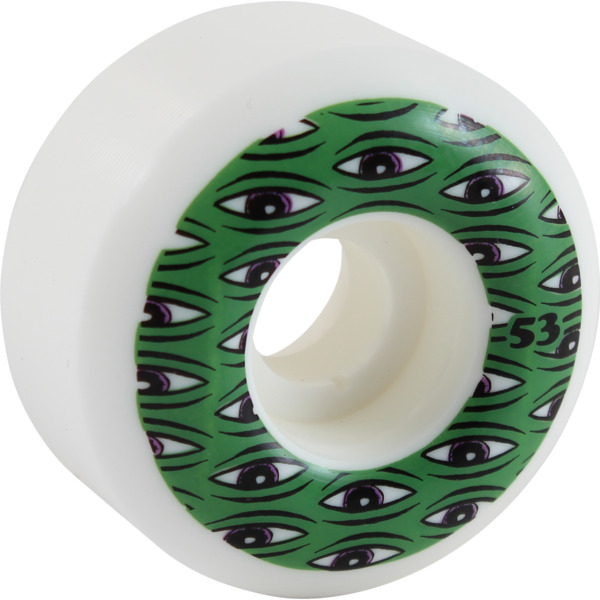 Toy Machine Skateboards All Seeing White / Green Skateboard Wheels - 53mm 99a (Set of 4)