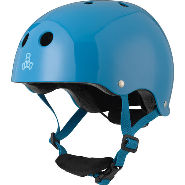 """Triple 8 Lil 8 with EPS Liner Blue Glossy Skate Helmet Dual Certified CPSC & ASTM - (Certified) - Youth 18"""" - 20.5"""""""