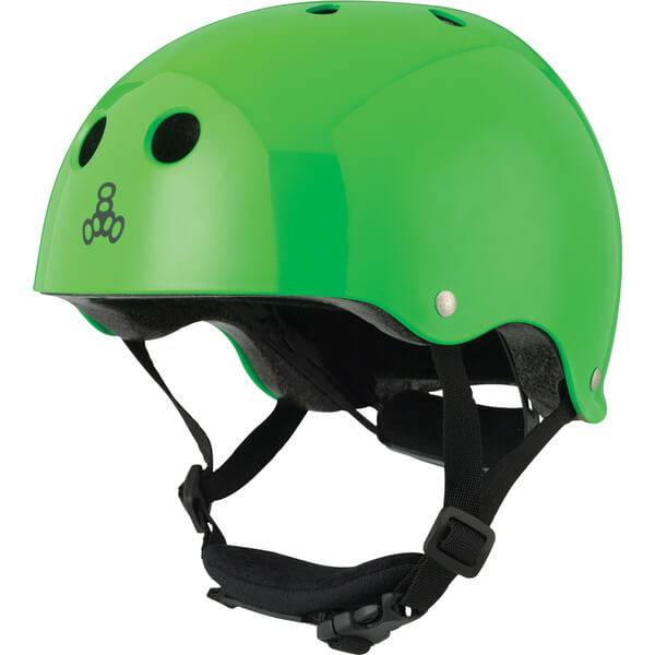 """Triple 8 Lil 8 with EPS Liner Neon Green Glossy Skate Helmet Dual Certified CPSC & ASTM - (Certified) - Youth 18"""" - 20.5"""""""