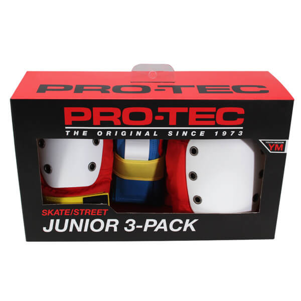 ProTec Street Retro Red / Blue / Yellow Knee, Elbow, Wrist Set - Youth Small