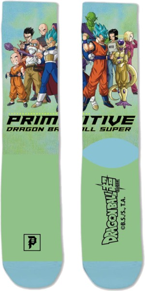 Primitive Skateboarding DBS2 Universe Survival Green Crew Socks - One size fits most