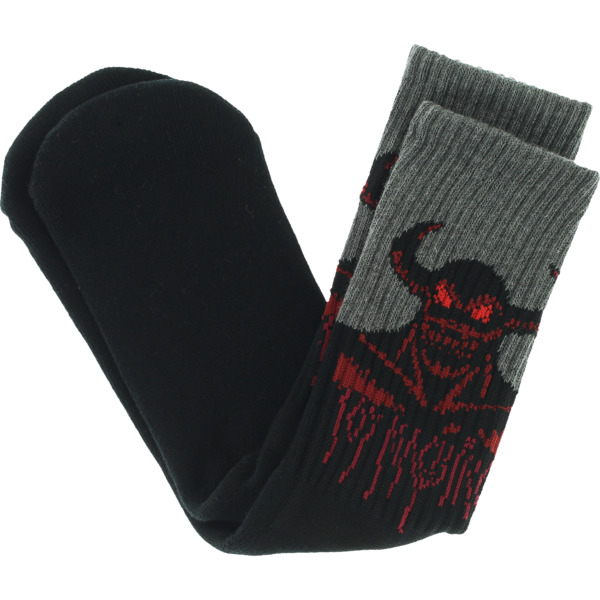 Toy Machine Skateboards Hell Monster Black / Charcoal / Red Crew Socks - One size fits most