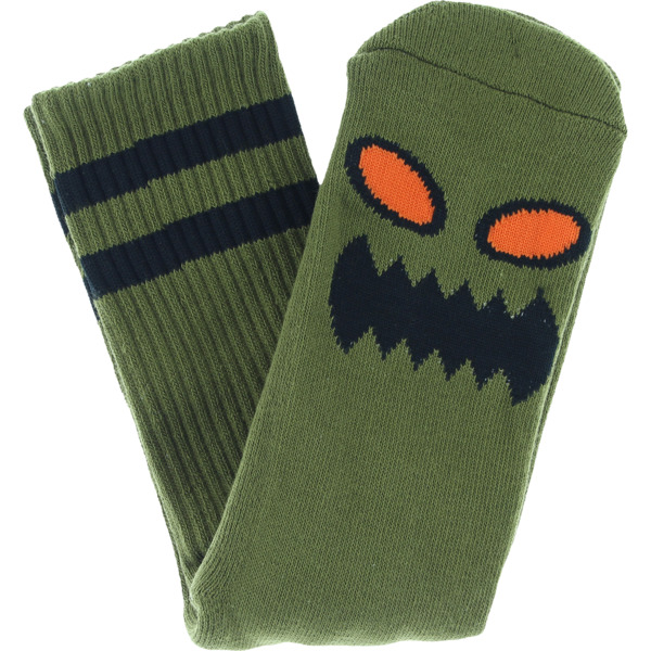 Toy Machine Skateboards Monster Face Moss Green Crew Socks - One size fits most