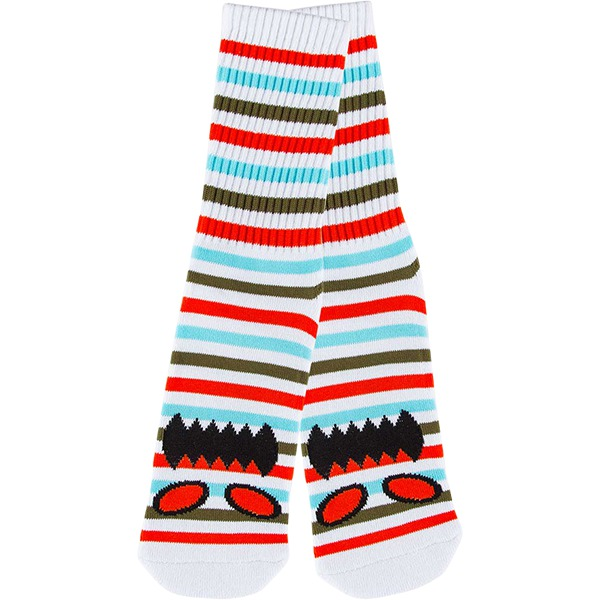 Toy Machine Skateboards Monster Face Mini Stripe Coral Crew Socks - One size fits most