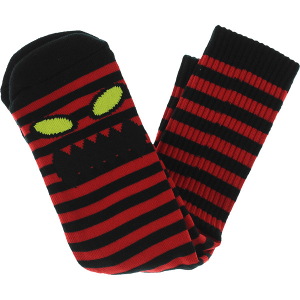 Toy Machine Skateboards Monster Face Mini Stripe Black / Red Crew Socks - One size fits most