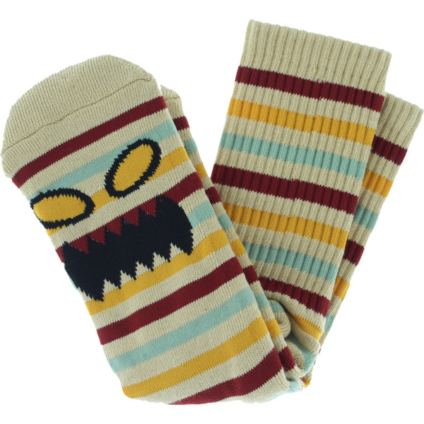 Toy Machine Skateboards Monster Face Mini Stripe White / Red / Blue / Yellow Crew Socks - One size fits most