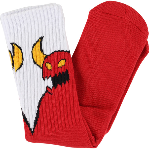 Toy Machine Skateboards Sketchy Monster Red / White Crew Socks - One size fits most