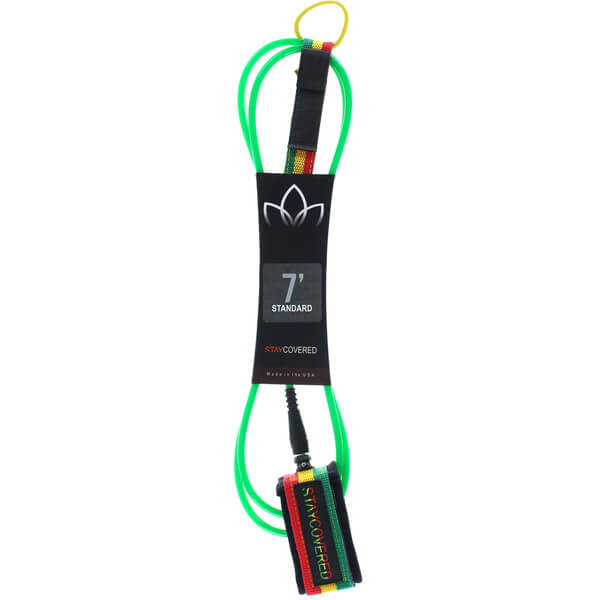 Stay Covered Deluxe Green / Rasta Surfboard Leash - 7'