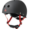 """Triple 8 Lil 8 with EPS Liner Black Rubber Skate Helmet Dual Certified CPSC & ASTM - (Certified) - Youth 18"""" - 20.5"""""""