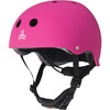 """Triple 8 Lil 8 with EPS Liner Neon Pink Rubber Skate Helmet Dual Certified CPSC & ASTM - (Certified) - Youth 18"""" - 20.5"""""""