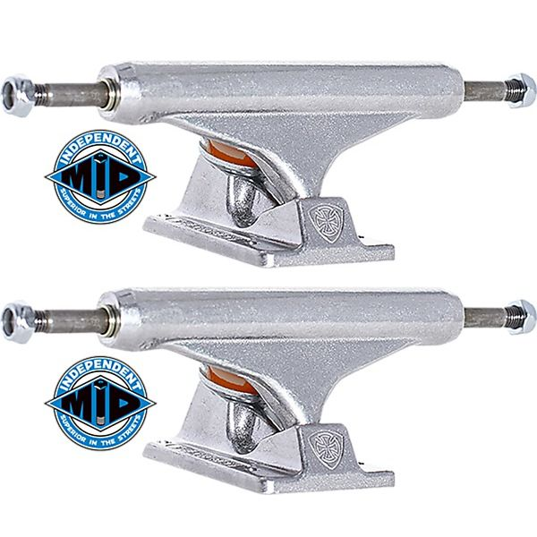 """Independent Stage 11 - 144mm Mid Silver Skateboard Trucks - 5.67"""" Hanger 8.25"""" Axle (Set of 2)"""