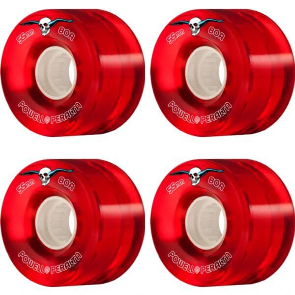 Powell Peralta Clear Cruiser Red Skateboard Wheels - 55mm 80a (Set of 4)